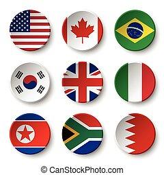 Set of world flags round badges ( USA . Canada . Brazil . South korea . United kingdom of great britain . Italy . North korea . South africa . Bahrain )