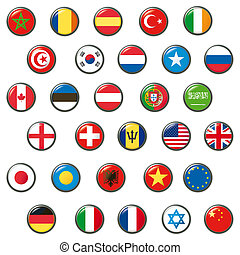 Set of world flags. Vector button
