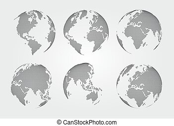 Set of world map . Dotted style . Vector .