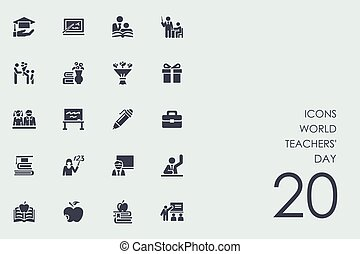 Set of world teachers' day icons