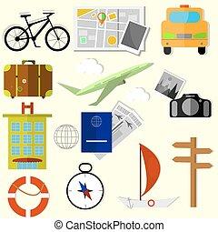 Set of World travel icons, flat design