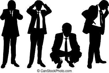 businessmen - set of worried businessmen