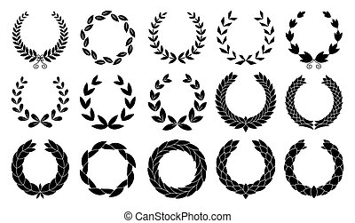 Set of wreaths circular laurel heraldry reward achievement leaf nobility laurel wreath.