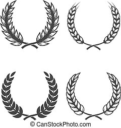 Set of  wreaths isolated on white background. Design element for