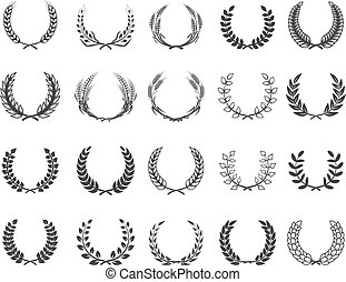 Set of wreaths isolated on white background. Design elements for