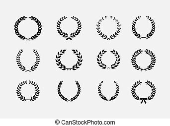 Set of wreaths: wheat circular laurel heraldry reward achievement leaf nobility laurel wreath