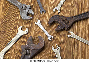 Set of wrenches in several different sizes.