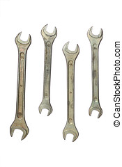 Set of wrenches isolated on the white background
