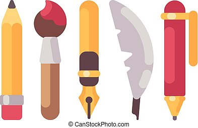 Set of writing and drawing tools flat icons. Pencil, pens,...
