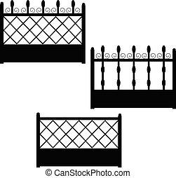 Set of wrought iron balcony fences.