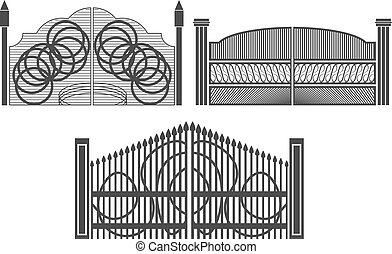 Set of wrought iron gates and gates made of metal