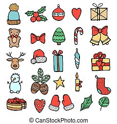 Set of Xmas hand draw stickers icons. Cartoon and flat style. Vector illustration. White backgrouhd.