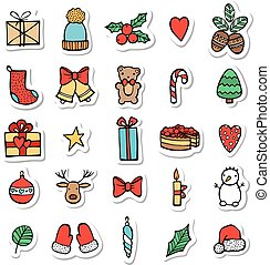 Set of Xmas hand draw stickers icons. Cartoon and flat style. Vector illustration. White background.