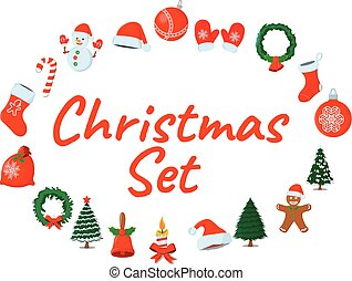 Set of XMas Isolated icon. Cartoon style. Vector Illustration for Christmas day