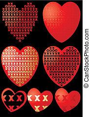 Set of XOXO hearts on black