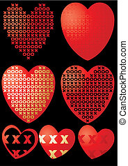 Set of XOXO hearts on black