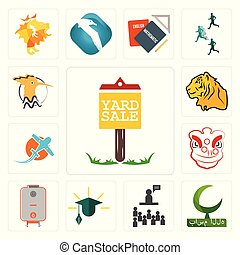 Set of yard sale, bismillah, public relations, education, boiler, lion dance, prop plane, tiger, hoopoe icons