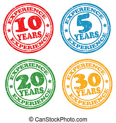 Set of years of experience stamps