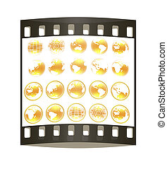 Set of yellow 3d globe icon with highlights. The film strip