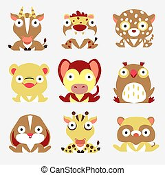 Set of yellow and brown wild animals