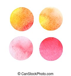 set of yellow and red watercolor stains