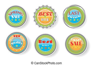 Set of yellow, blue labels with text - Spring Sale, Best Offer, Last Chance, Top Quality, Best Seller, Crazy Sale