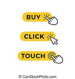 Set of yellow buttons for purchase, selection or registration. Graphic element for web design. Vector icons.