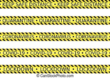set of yellow caution tape concerning social or safe ...
