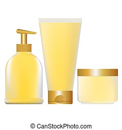 set of yellow containers for cosmet