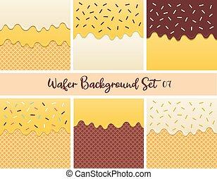 Set of yellow cream wafer vector.