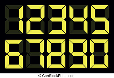 Set of yellow digital number