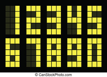 Set of yellow digital number square