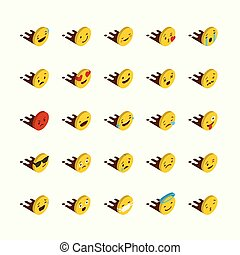 Set of Yellow emojis design vector