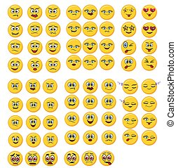 Set of yellow Emoticons. Isolated smile face. Emoji Mood on white background. illustration characters for applications and games.
