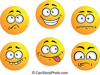 Set of six round yellow emoticons showing facial expression depicting happiness, sadness, bashful, nonplussed, embarrassed, tongue out and toothy