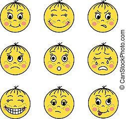 set of yellow emoticons