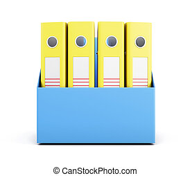 Set of yellow folders in a box isolated on white background. 3d