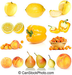Set of yellow fruit, berries and vegetables isolated on the white background