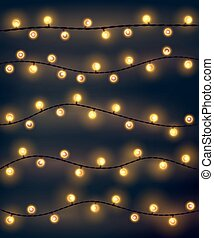 Set of yellow garland style christmas lights on the dark...