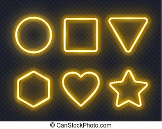 Set of yellow glowing neon frames on dark background.