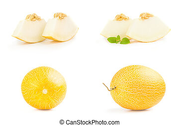 Set of yellow melon on a white background clipping path