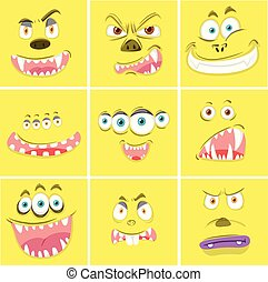Set of yellow monster faces