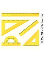 Set of yellow plastic rulers isolated on white background. Ruler, triangle ruler, protractor for school and business. Vector Illustration