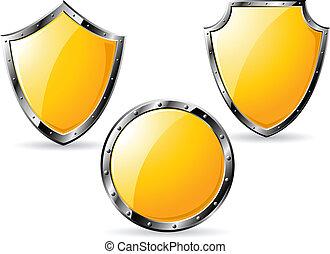 Set of yellow steel shields