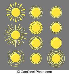 Set of yellow suns