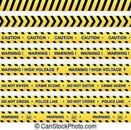 Set of yellow warning ribbons