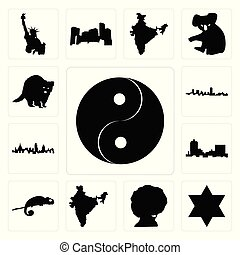Set of yin yang, star david, afro, india, chameleon, montana, london skyline, maryland outline, in black, raccoon icons