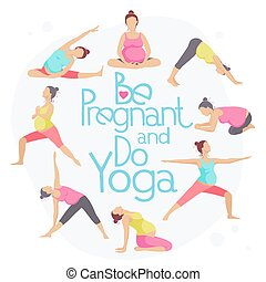 Set of Yoga poses for Pregnant women. Prenatal exercise....