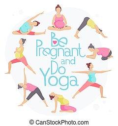Set of Yoga poses for Pregnant women. Prenatal exercise. ...