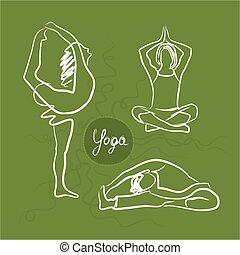 Set Of Yoga Poses. Green Background